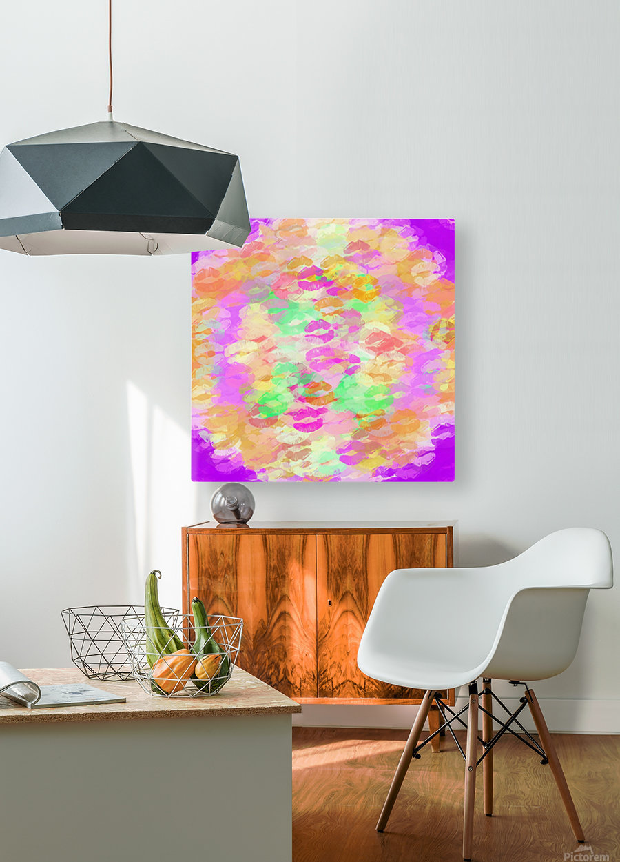 sexy kiss lipstick abstract pattern in pink orange yellow green  HD Metal print with Floating Frame on Back