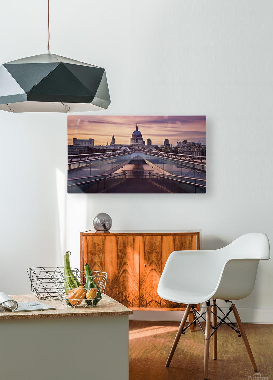 Millennium bridge leading towards St. Paul's church  HD Metal print with Floating Frame on Back