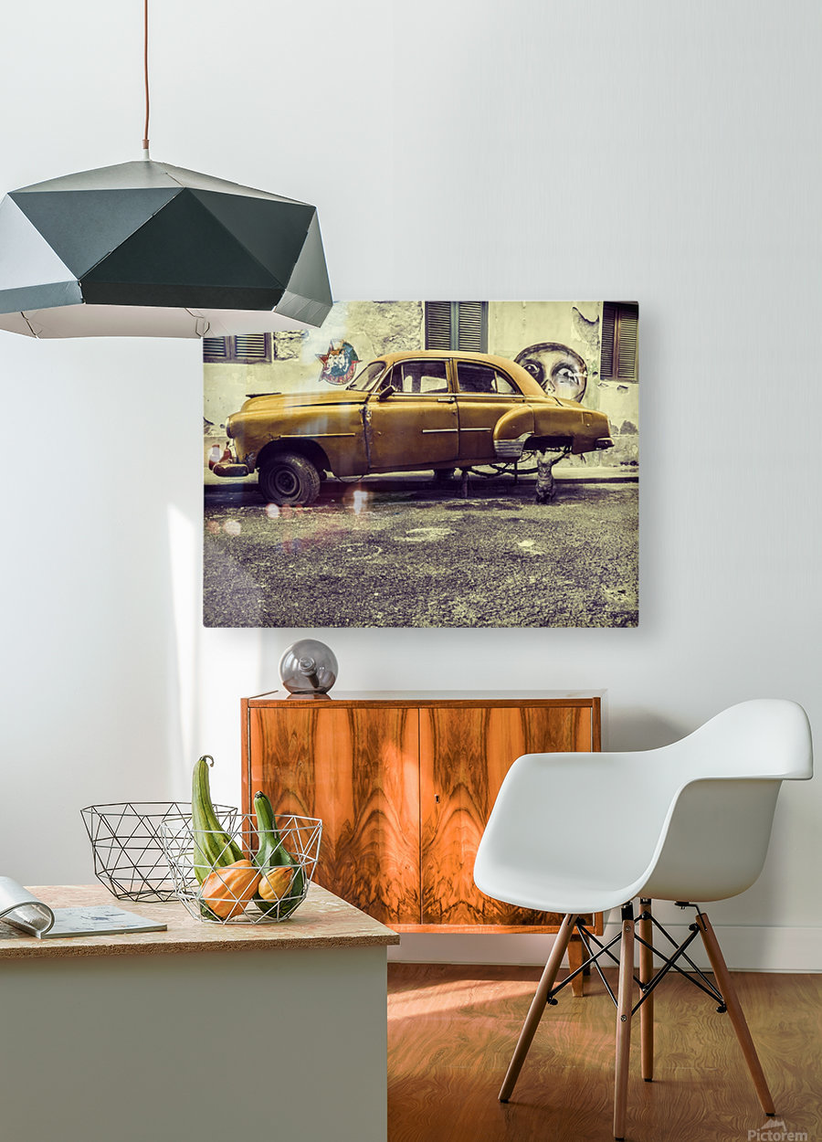 Old car cat  HD Metal print with Floating Frame on Back