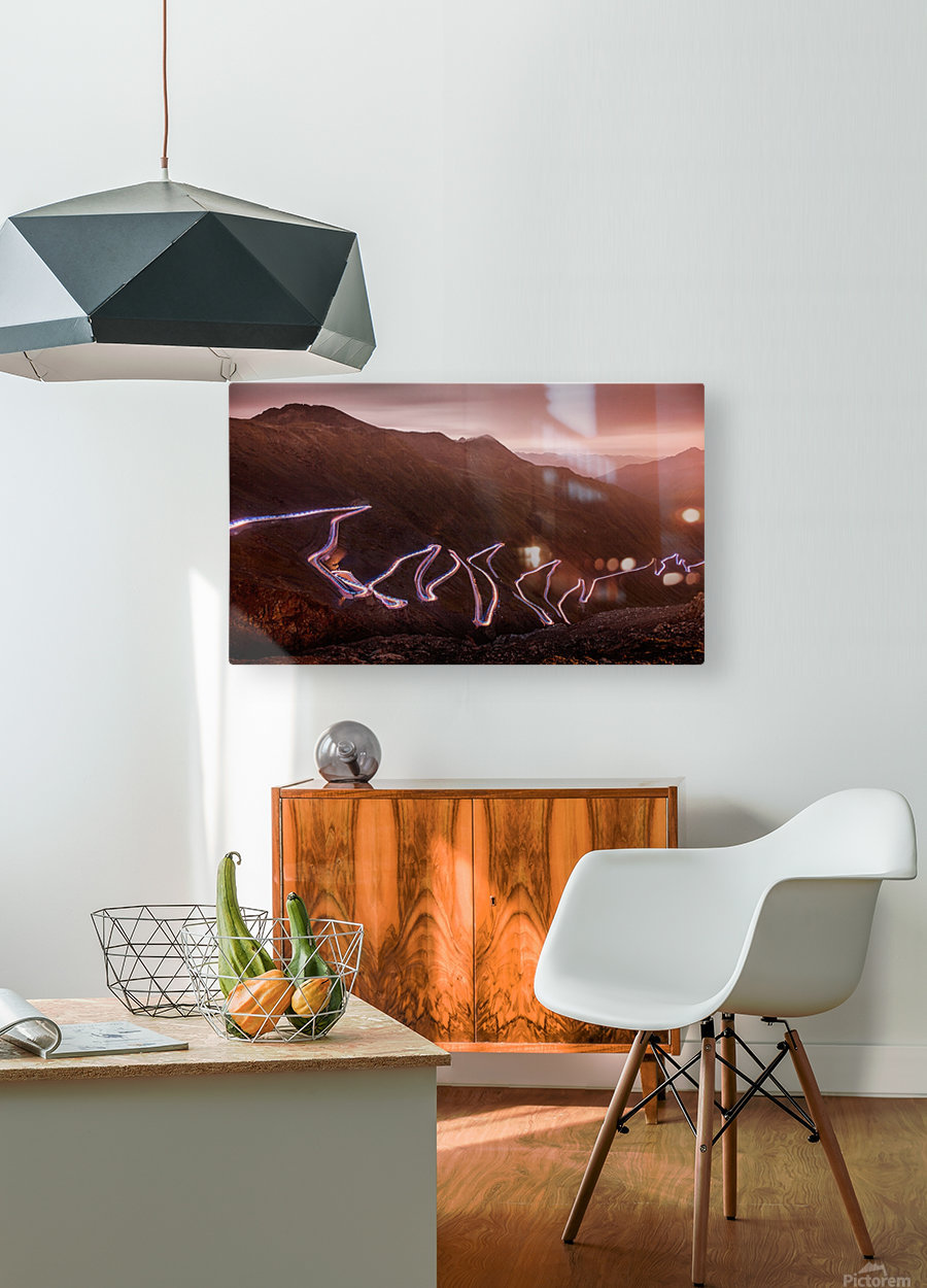 Winding light  HD Metal print with Floating Frame on Back