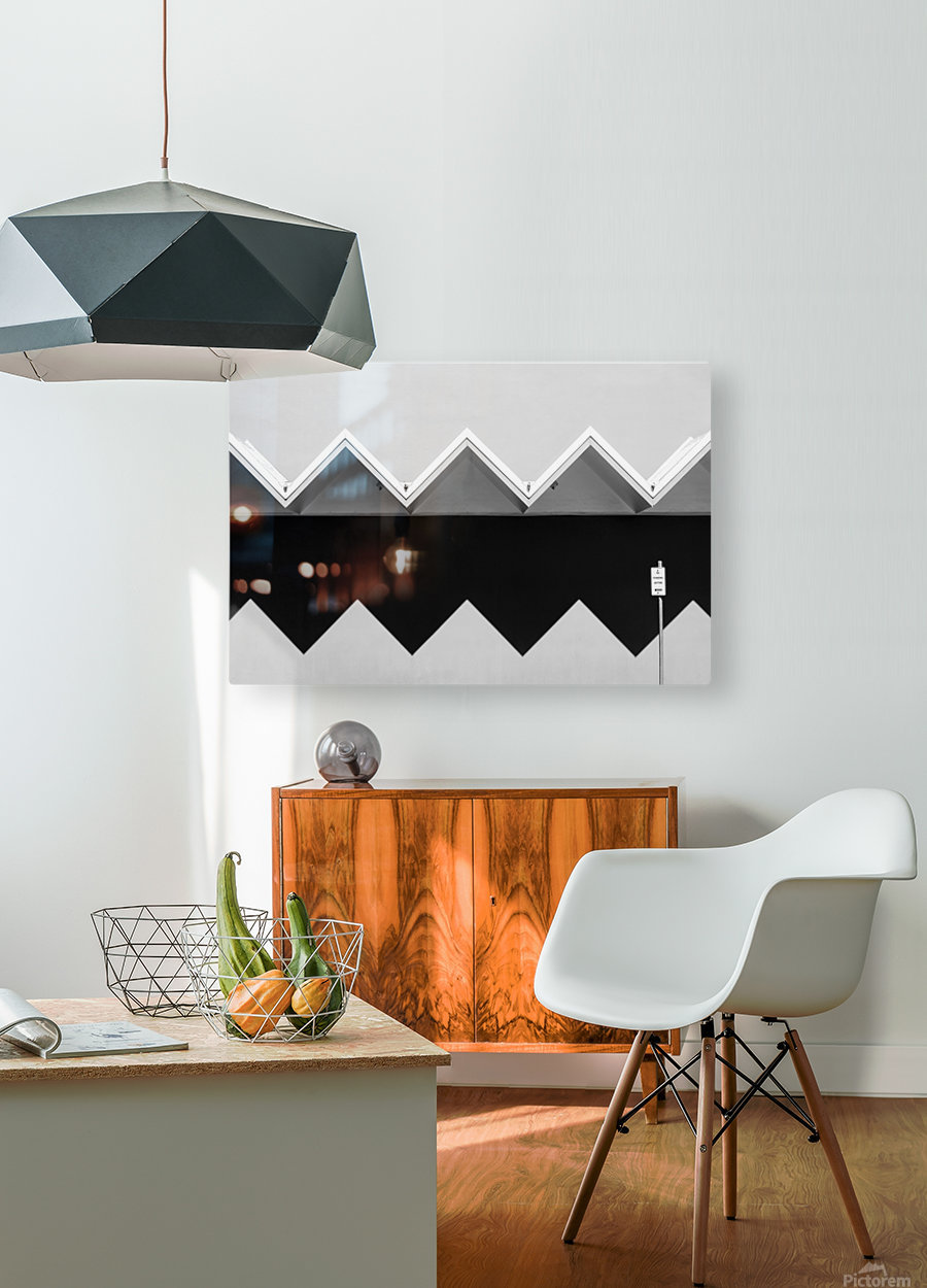Zig Zag Shadow  HD Metal print with Floating Frame on Back