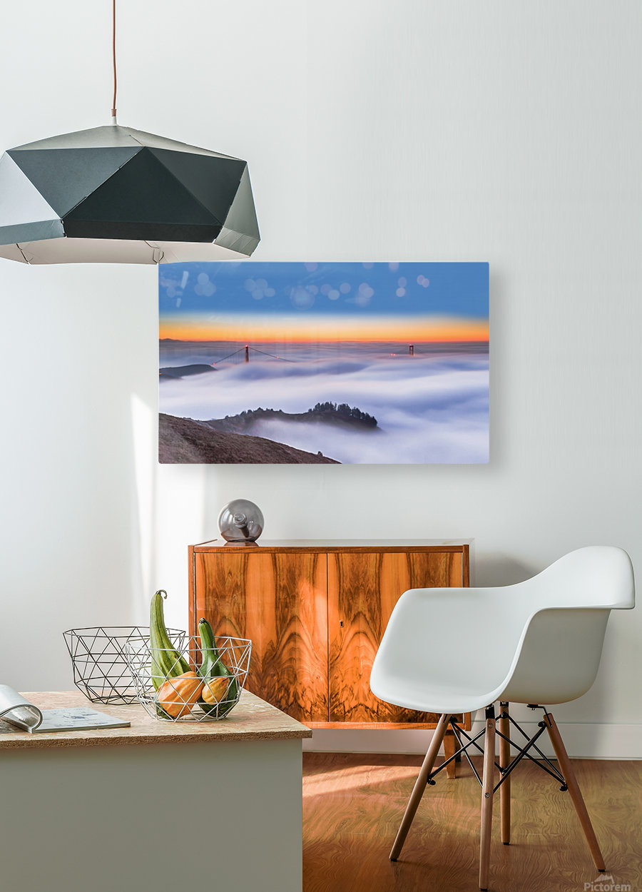 The Golden Gate Bridge in the Fog  HD Metal print with Floating Frame on Back