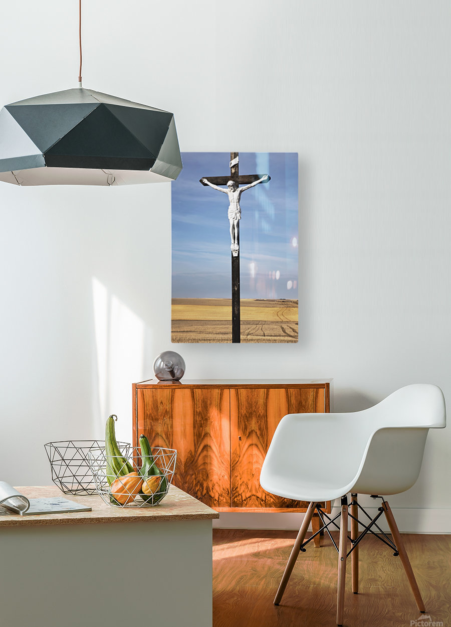 Crucifix and a farm field in the background;Saskatchewan canada  HD Metal print with Floating Frame on Back