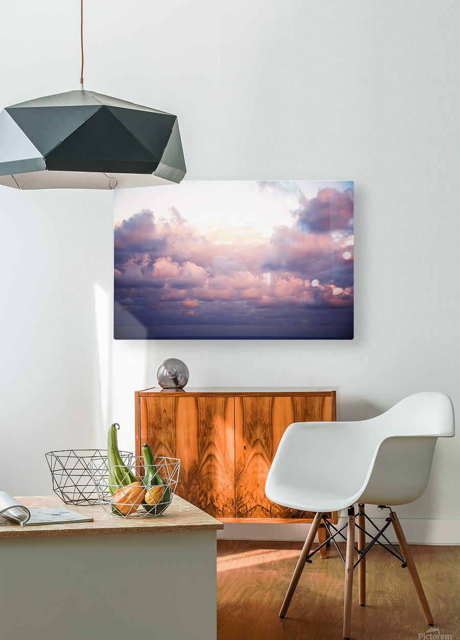 Cumulous pink clouds over horizon; Aina Haina, Oahu, Hawaii, United States of America  HD Metal print with Floating Frame on Back