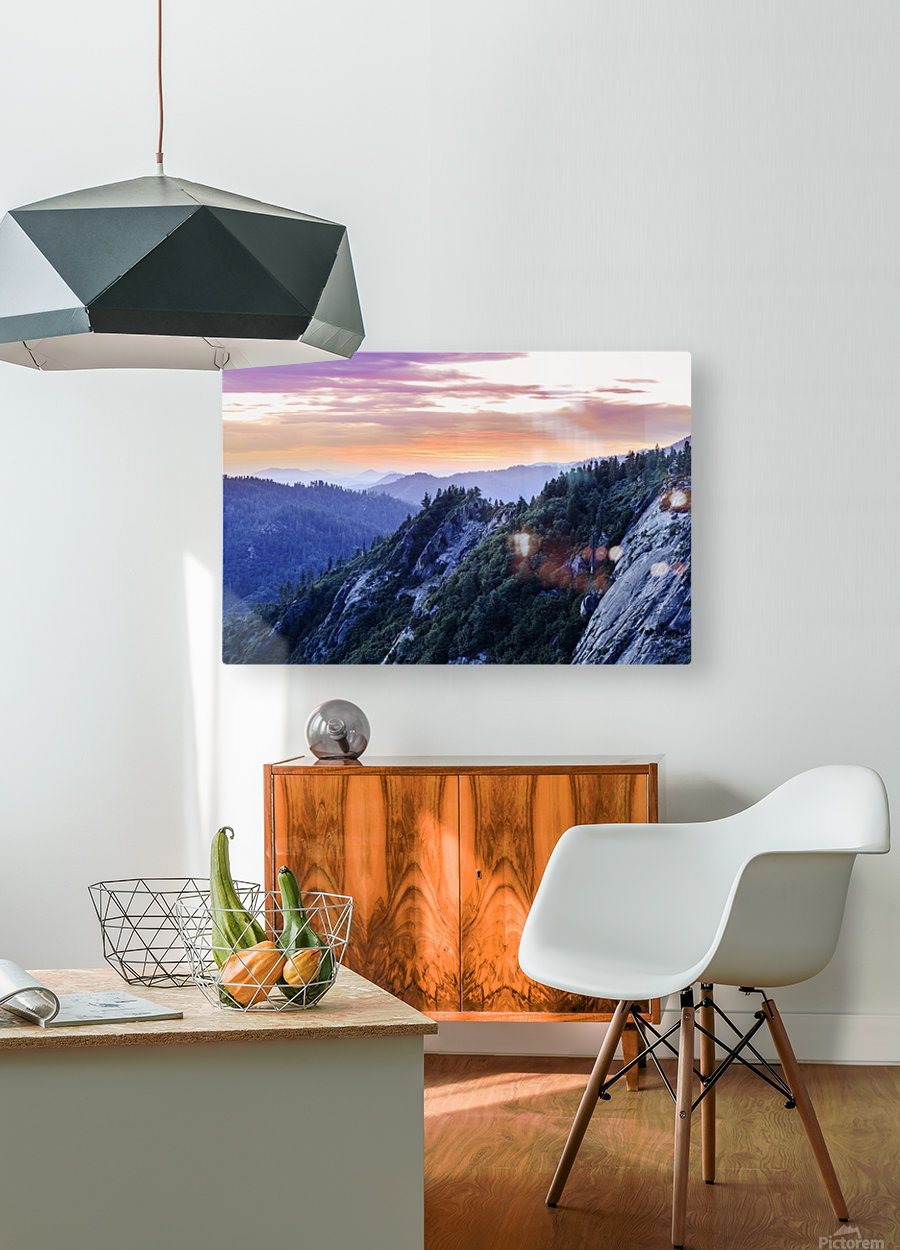 View from Moro Rock at dusk, Sequoia National Park; California, United States of America  HD Metal print with Floating Frame on Back