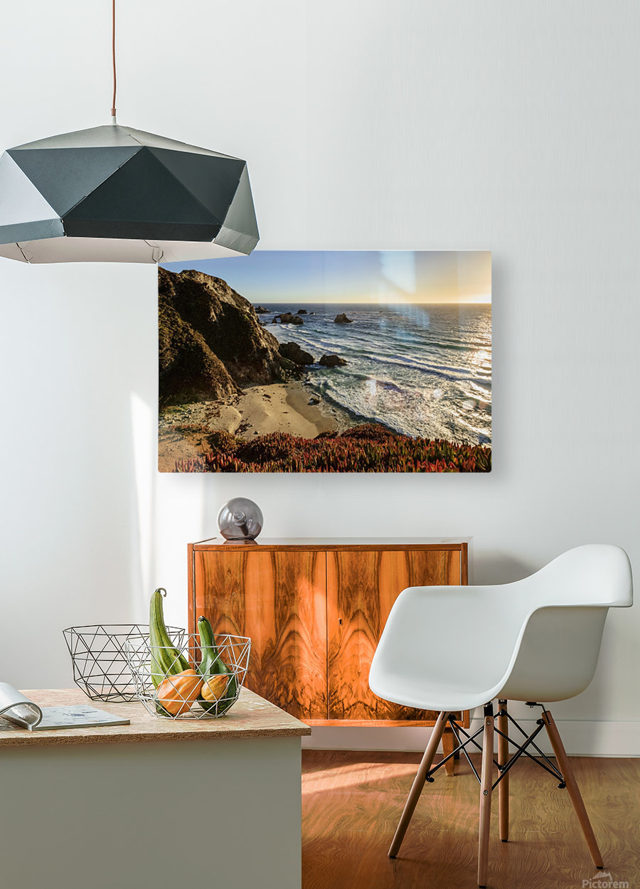 Cliffs along Big Sur coastline near Rocky Creek Bridge on Highway One; California, United States of America  HD Metal print with Floating Frame on Back