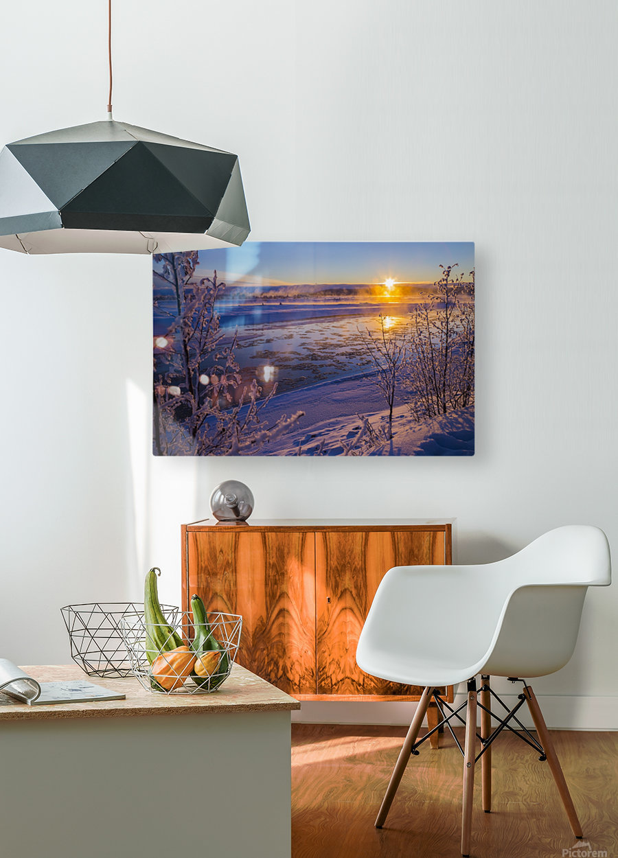 Ice flows in the Tanana River at sunset during freeze up in early winter; Alaska, United States of America  HD Metal print with Floating Frame on Back