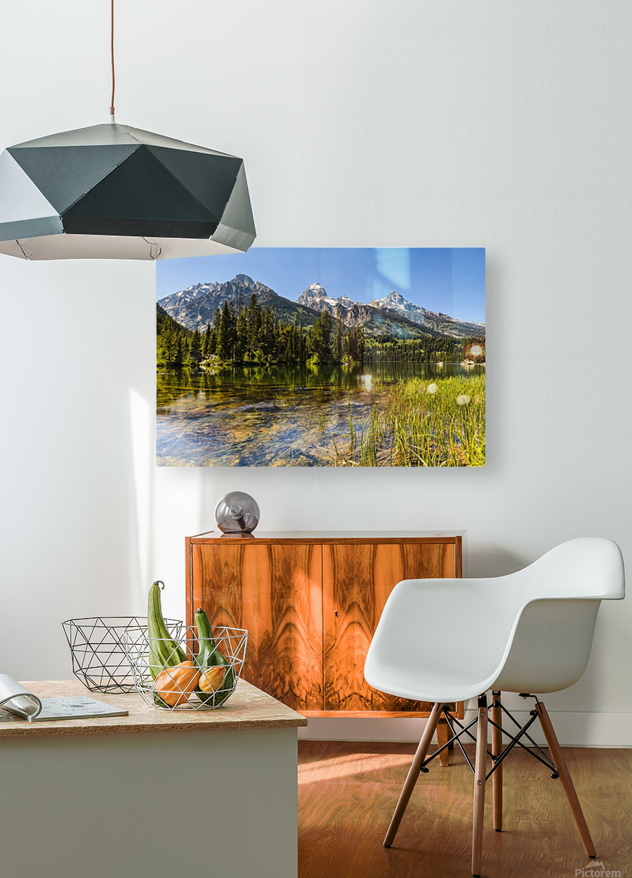 Taggart Lake and Grand Teton, Grand Teton National Park; Wyoming, United States of America  HD Metal print with Floating Frame on Back