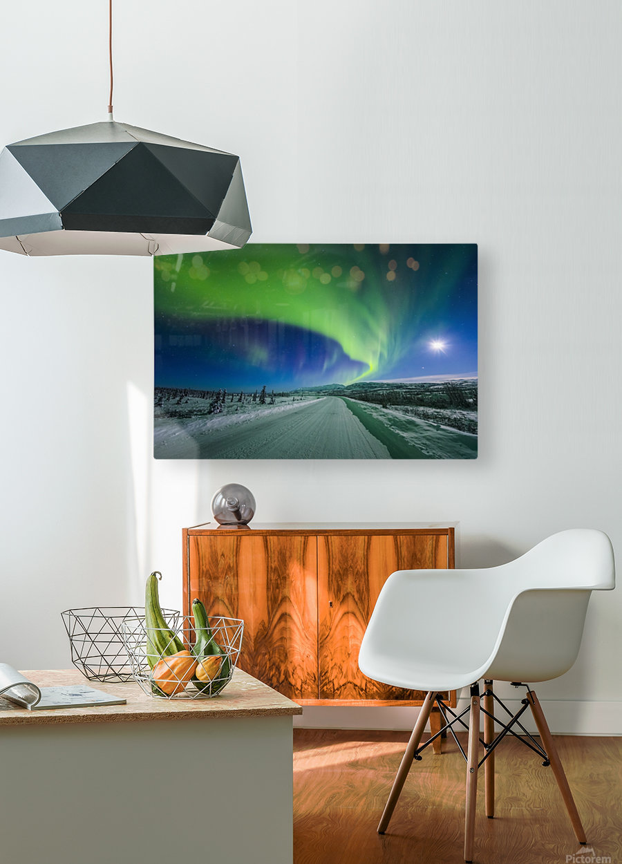 The moon and aurora shine in the night sky over a snow covered Richardson Highway south of Delta Junction; Alaska, United States of America  HD Metal print with Floating Frame on Back