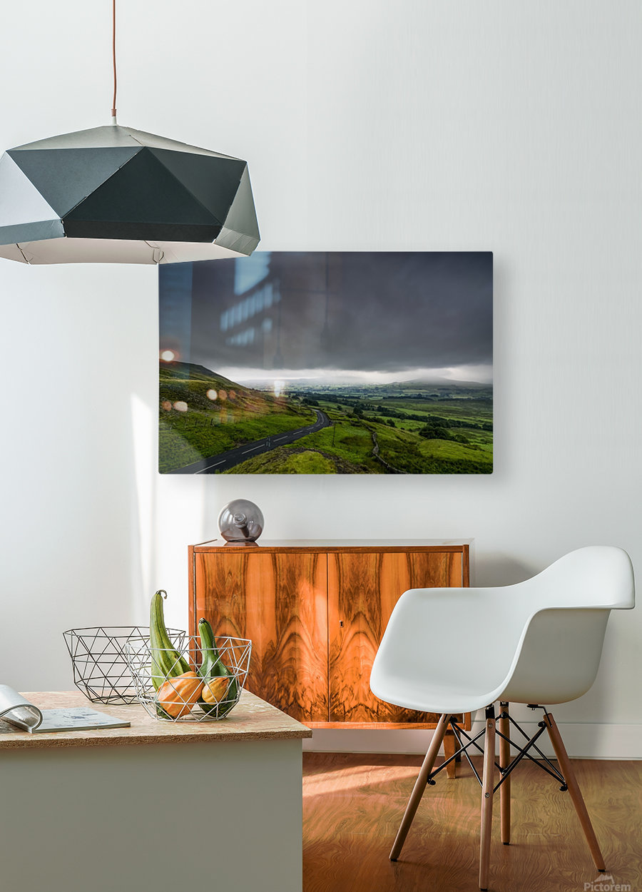 Dark storm clouds over a lush, green landscape and road; North Yorkshire, England  HD Metal print with Floating Frame on Back