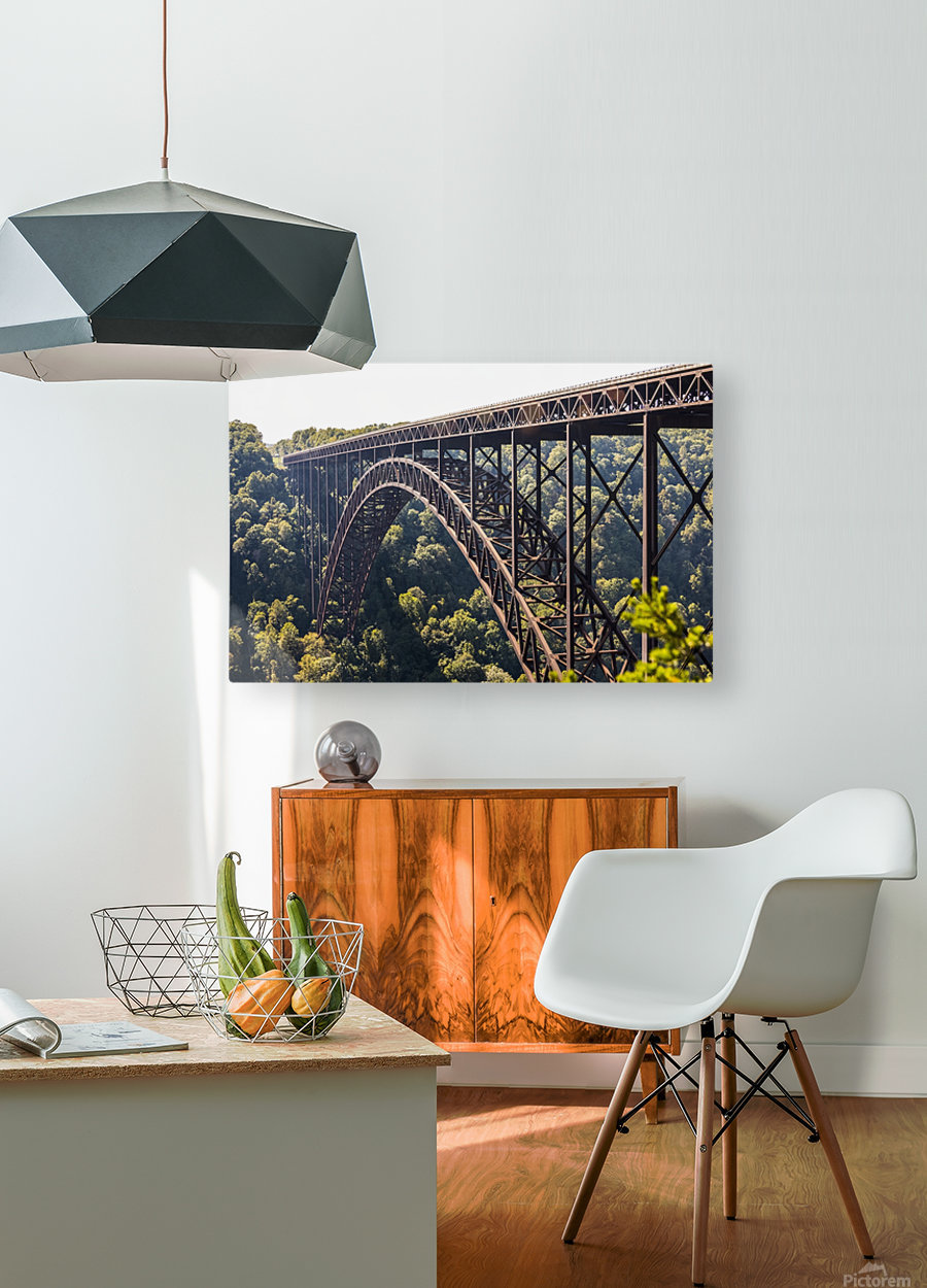 The New River Gorge Bridge is a steel arch bridge 3,030 feet long over the New River Gorge near Fayetteville, in the Appalachian Mountains of the Eastern United States; West Virginia, United States of America  HD Metal print with Floating Frame on Back