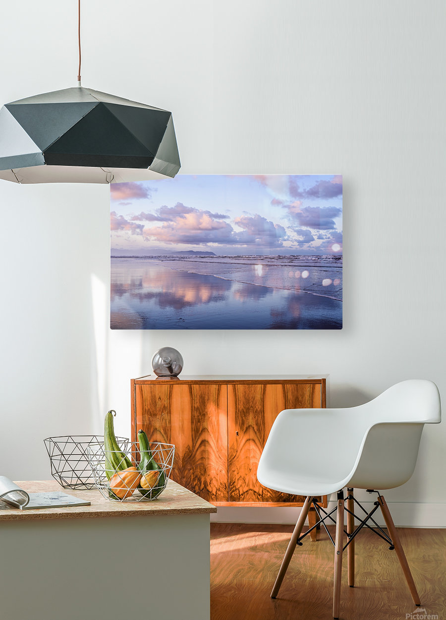 Clouds reflect on an Oregon beach at sunrise; Hammond, Oregon, United States of America  HD Metal print with Floating Frame on Back