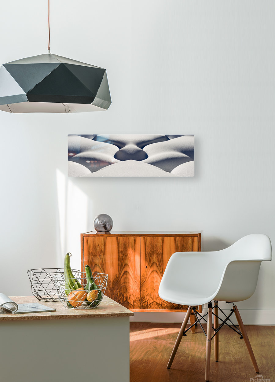 Artistic montage of snow contouring a creek bed with graphic designs of curving highlights and shadows; Lake Louise, Alberta, Canada  HD Metal print with Floating Frame on Back