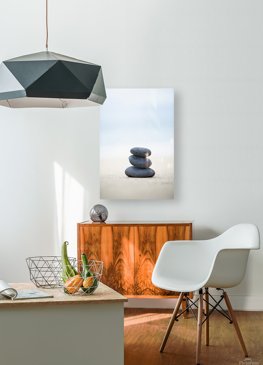 Stack Of Stones On Sand, Selective Focus.  HD Metal print with Floating Frame on Back