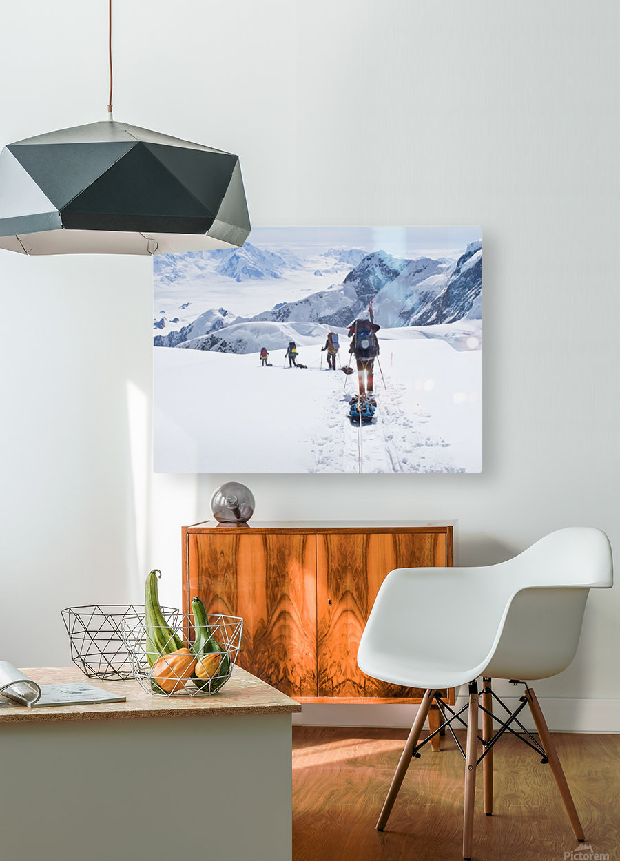 Mountaineer Group Descends Into The Maccarthy Gap On The King Trench Route, Mt. Logan, Kluane National Park, Yukon Territory, Canada, Summer  HD Metal print with Floating Frame on Back