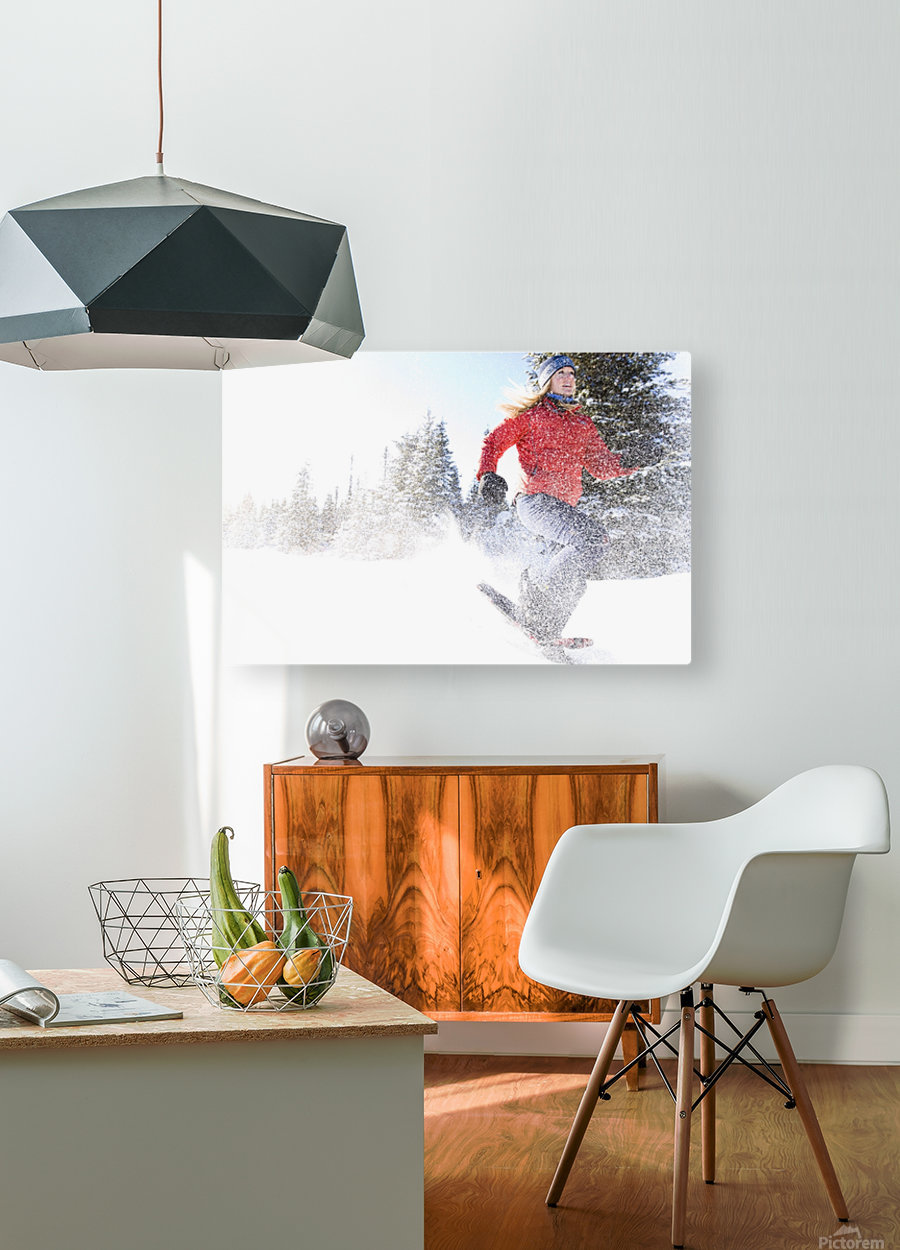 Young Woman On Snowshoes Enjoy The Outdoors Near Homer, Alaska During Winter.  HD Metal print with Floating Frame on Back
