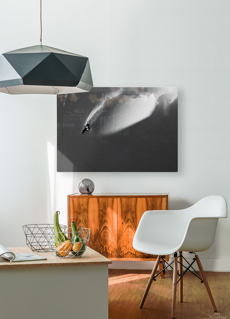 Person extreme snowboarding in mountains above Haines, Southeast Alaska, USA  HD Metal print with Floating Frame on Back