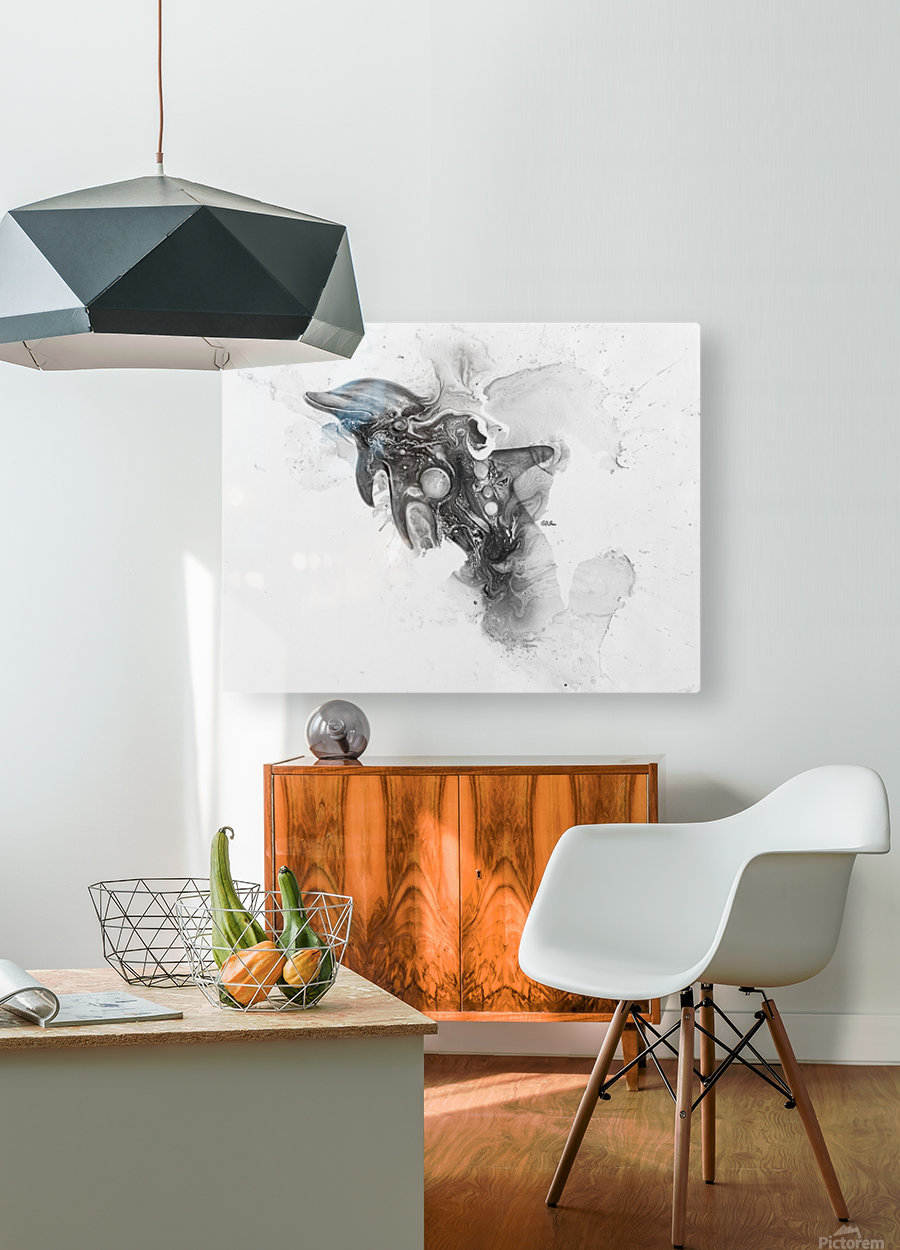 Illustration of a dolphin splashing through the surface of the water  HD Metal print with Floating Frame on Back