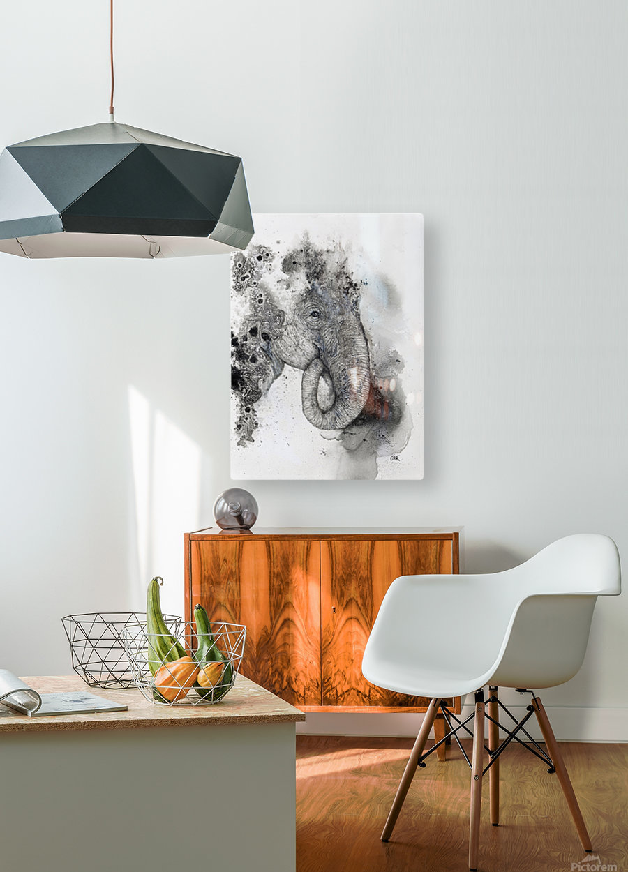 Illustration of an elephant's head  HD Metal print with Floating Frame on Back