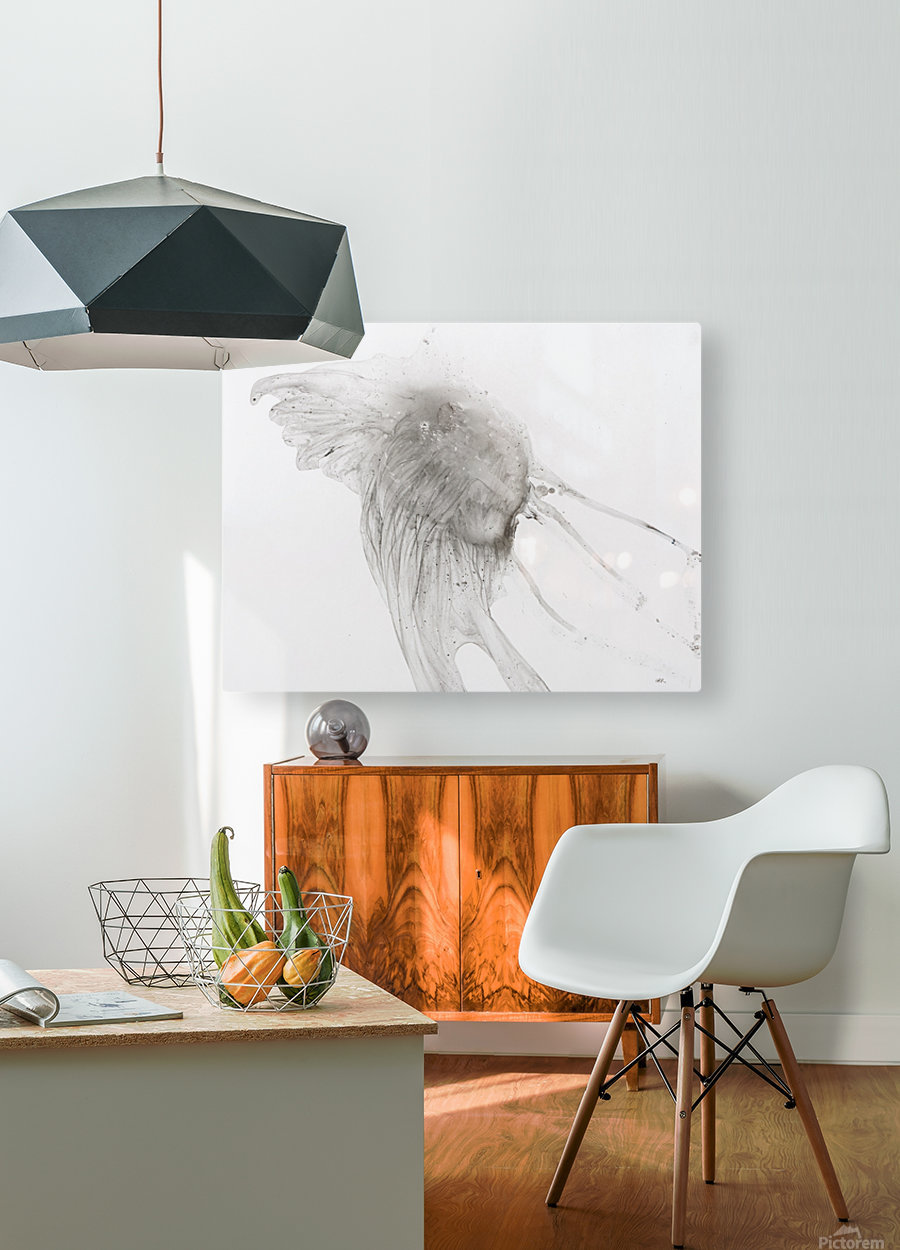 Jellyfish against a white background  HD Metal print with Floating Frame on Back