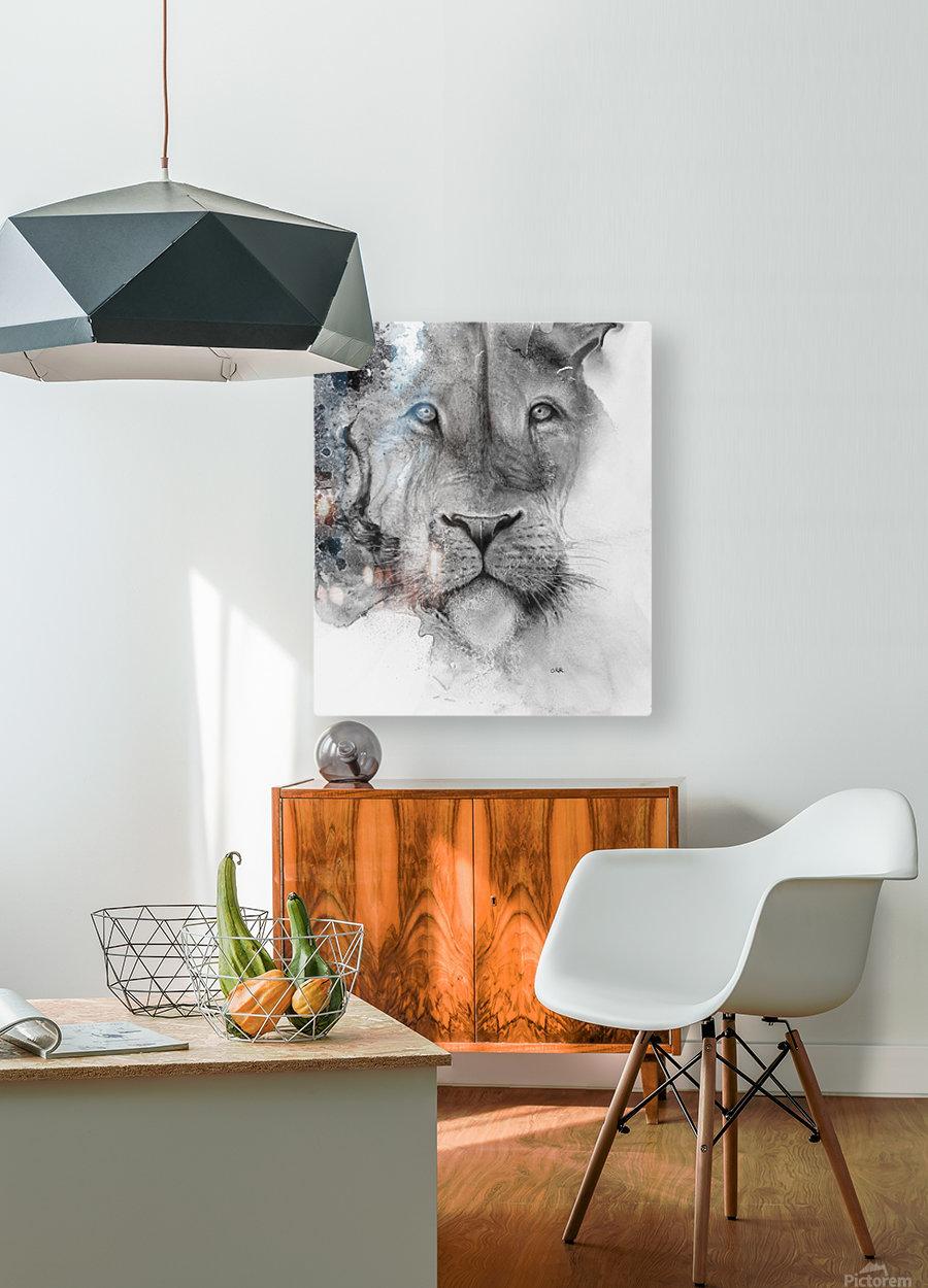 Illustration of a lion's face and a mottled background  Impression métal HD avec cadre flottant sur le dos