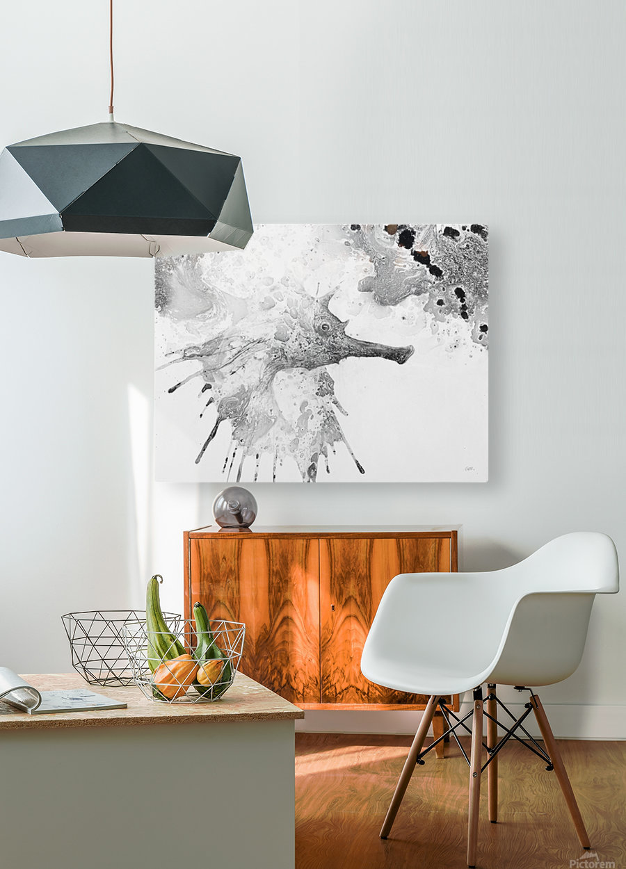 Illustration of fish with long nose surrounded by splashes and mottled abstract  HD Metal print with Floating Frame on Back