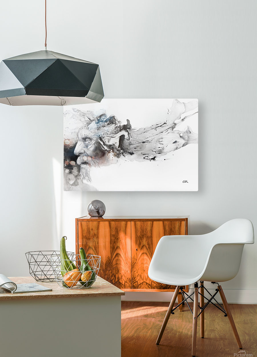 Illustration of a man's face with abstract shapes emerging from the back of the head  HD Metal print with Floating Frame on Back