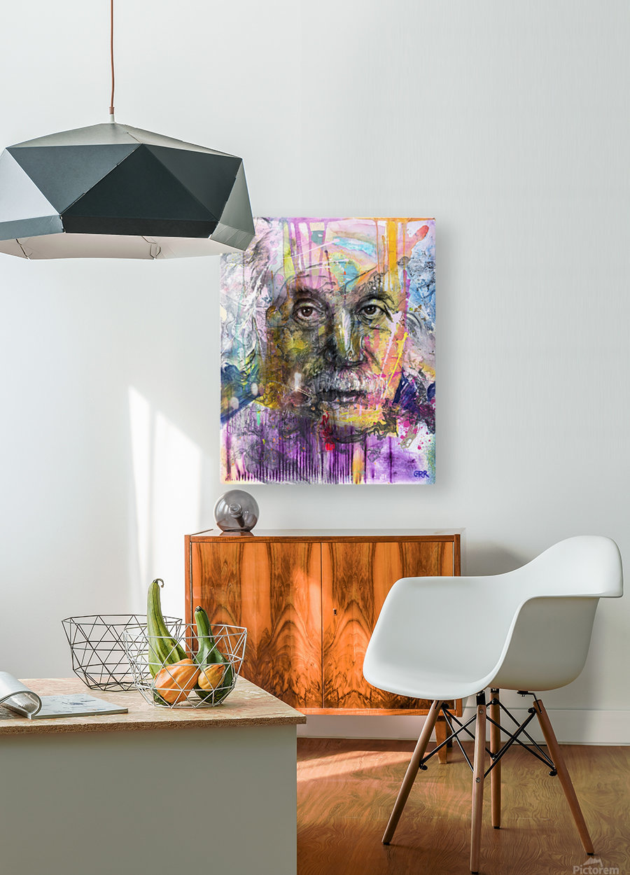 Illustration of a man's face with colourful abstract patterns surrounding it  HD Metal print with Floating Frame on Back