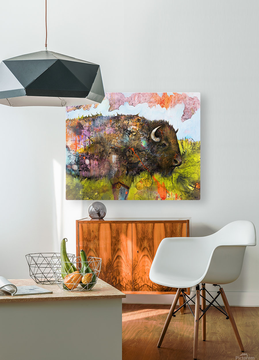 Illustration of a buffalo with colourful splashes and landscape  HD Metal print with Floating Frame on Back