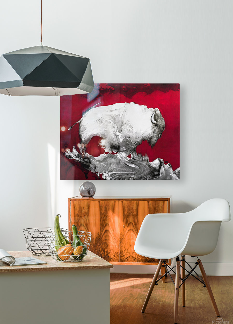 Illustration of a bison against a red background  HD Metal print with Floating Frame on Back