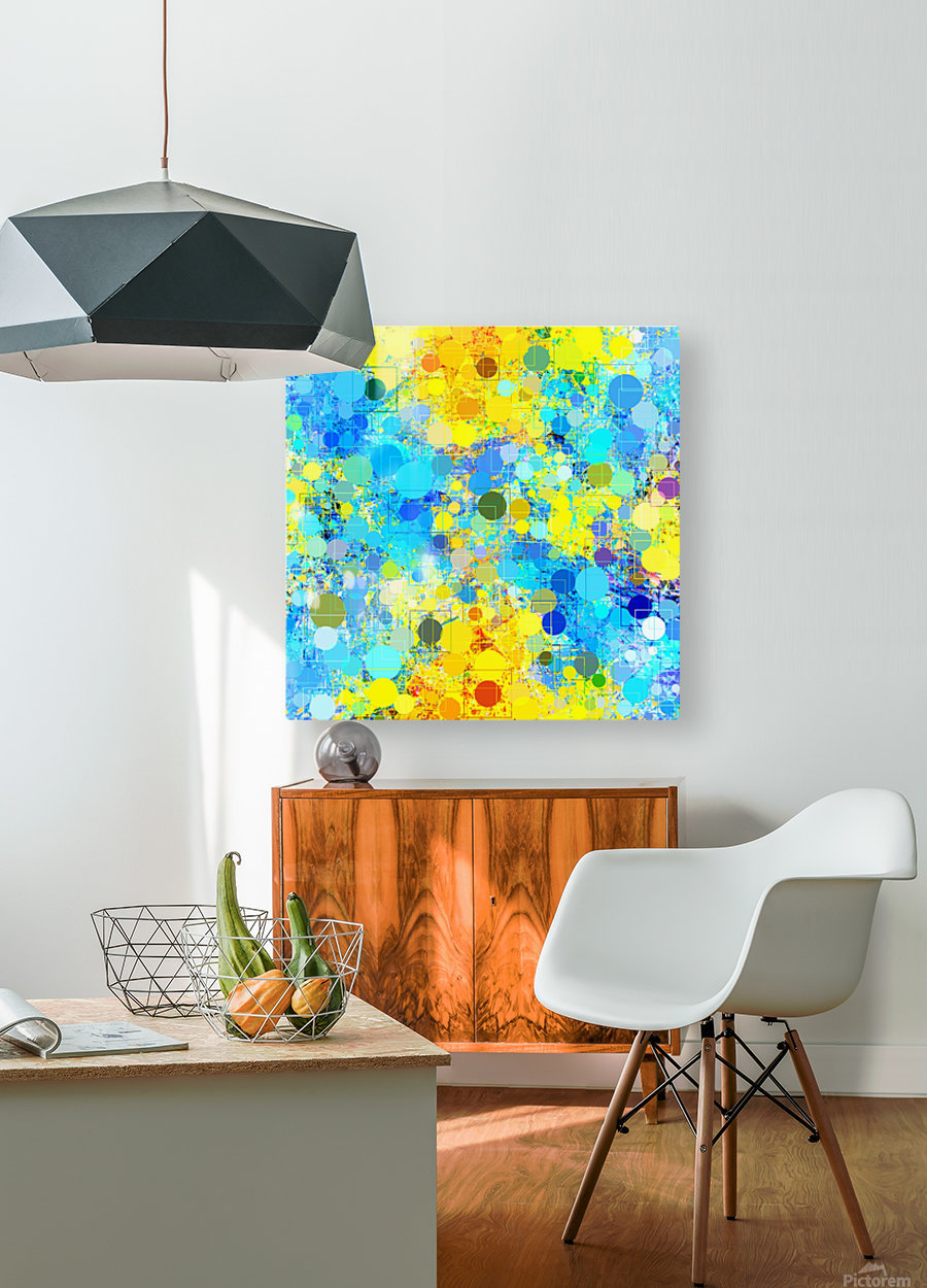 psychedelic geometric circle pattern and square pattern abstract in yellow and blue  HD Metal print with Floating Frame on Back