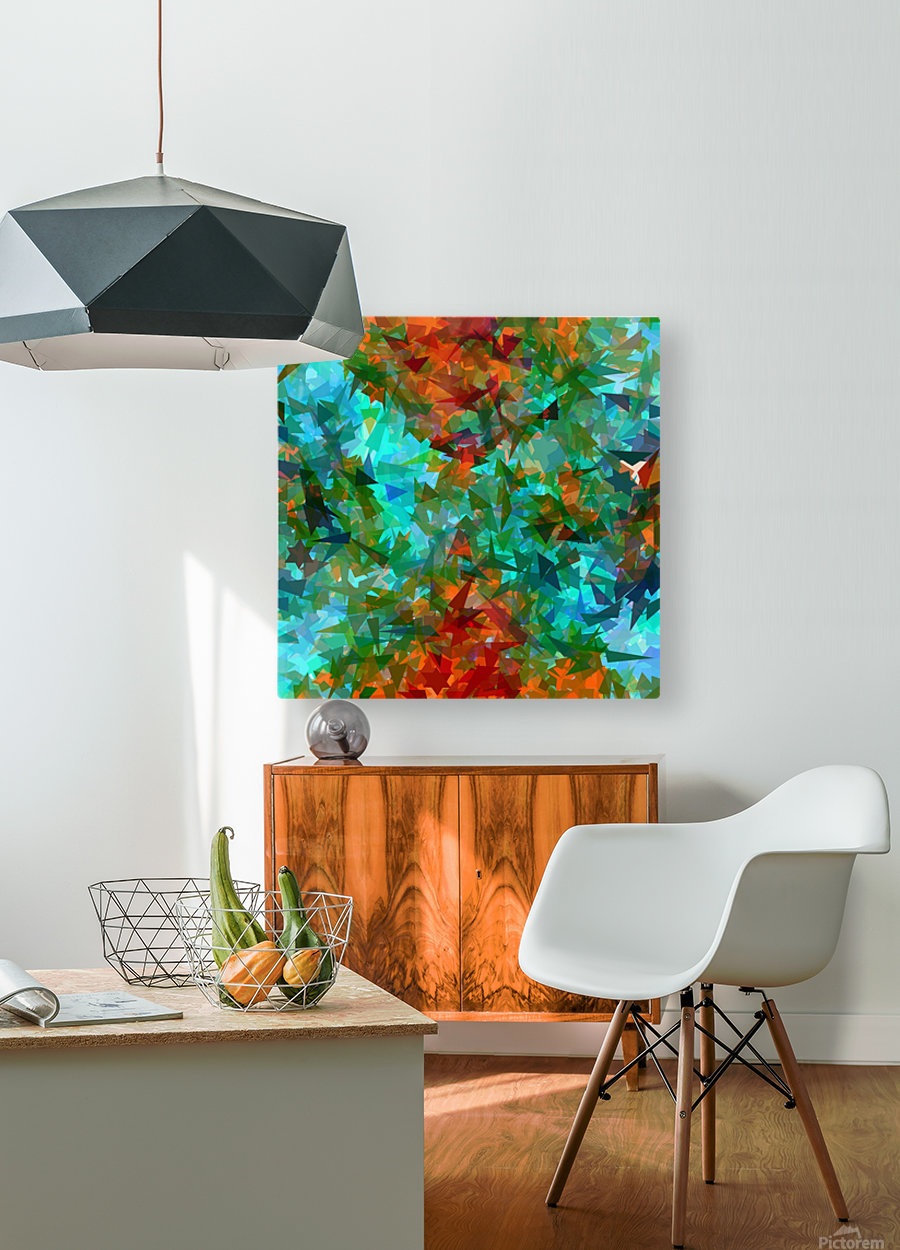 psychedelic geometric abstract pattern in green blue orange  HD Metal print with Floating Frame on Back
