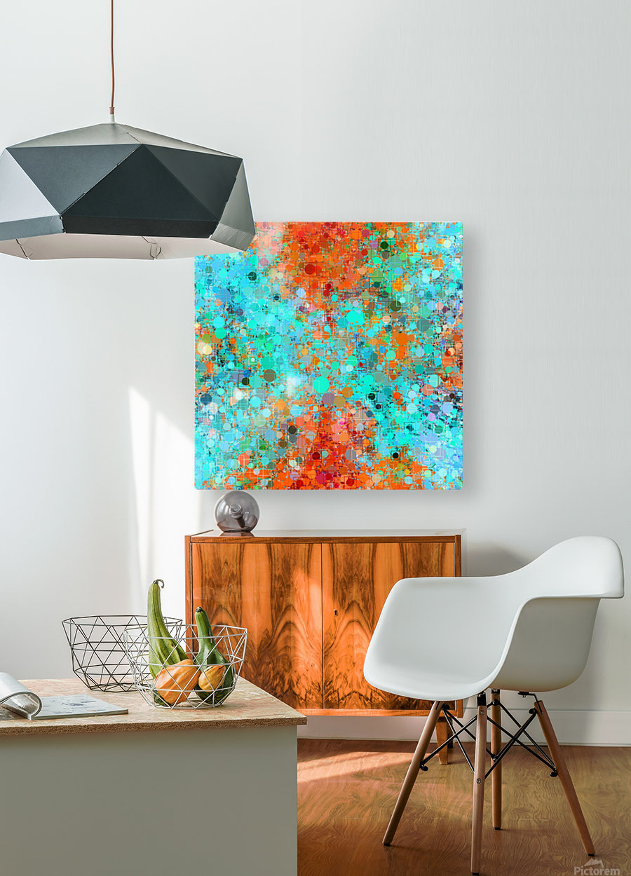 psychedelic geometric circle pattern and square pattern abstract in orange and blue  HD Metal print with Floating Frame on Back