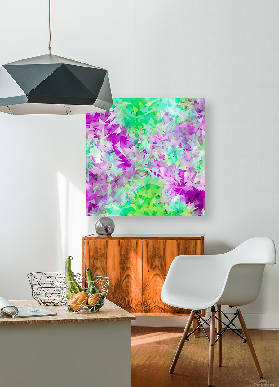 psychedelic geometric triangle abstract pattern in purple and green  HD Metal print with Floating Frame on Back