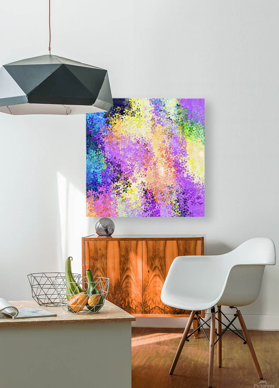 flower pattern abstract background in purple yellow blue green  HD Metal print with Floating Frame on Back