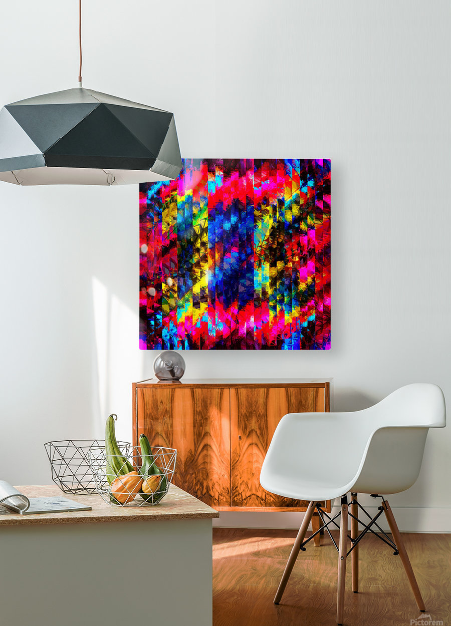 psychedelic geometric painting abstract pattern in red pink blue yellow  HD Metal print with Floating Frame on Back