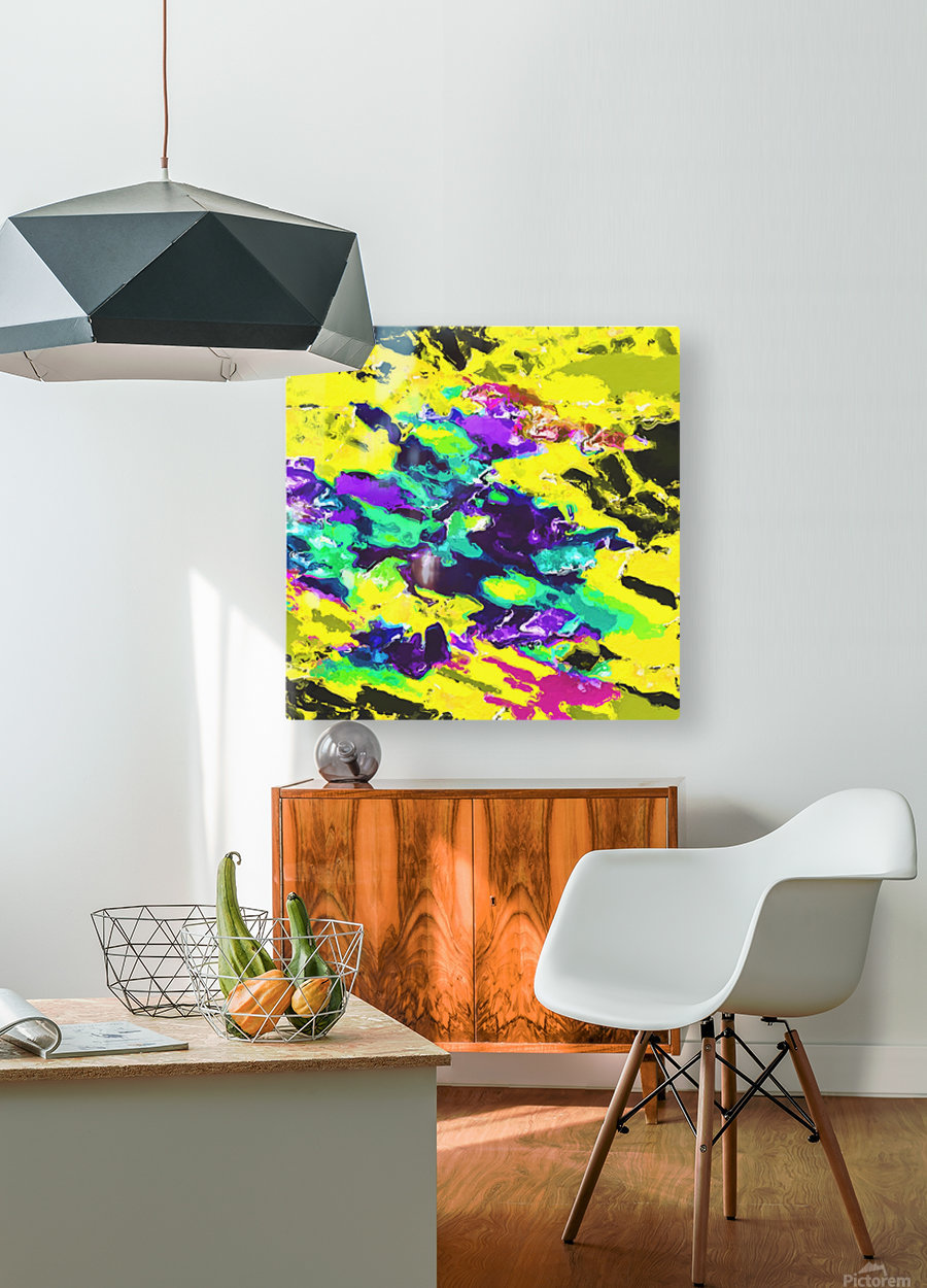 psychedelic splash painting abstract texture in yellow blue green purple  HD Metal print with Floating Frame on Back