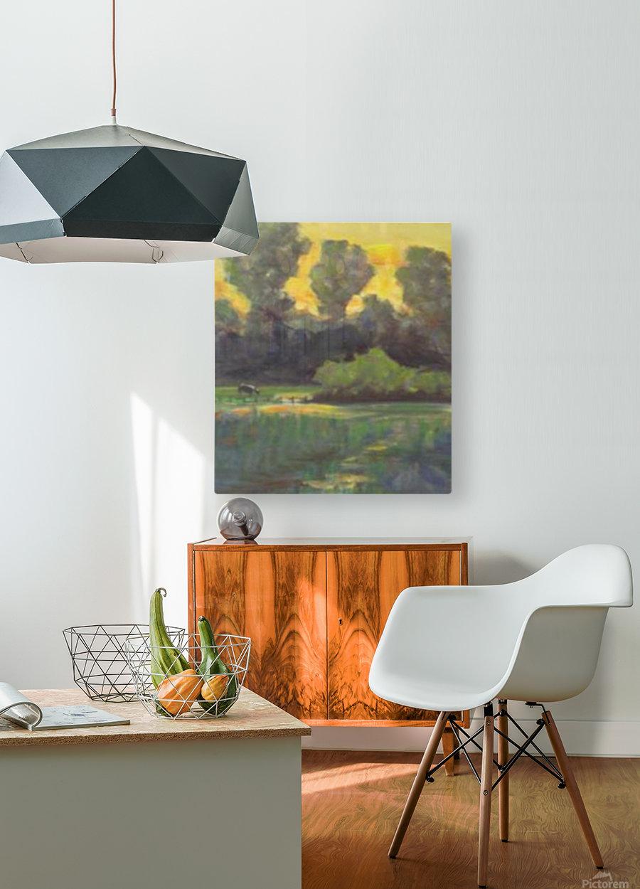 Pasture at dusk  HD Metal print with Floating Frame on Back