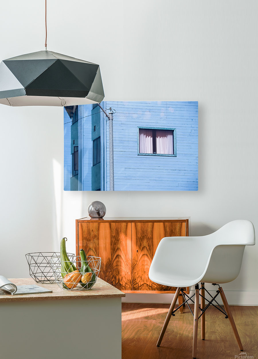 vintage blue wood building with window and electric pole  HD Metal print with Floating Frame on Back