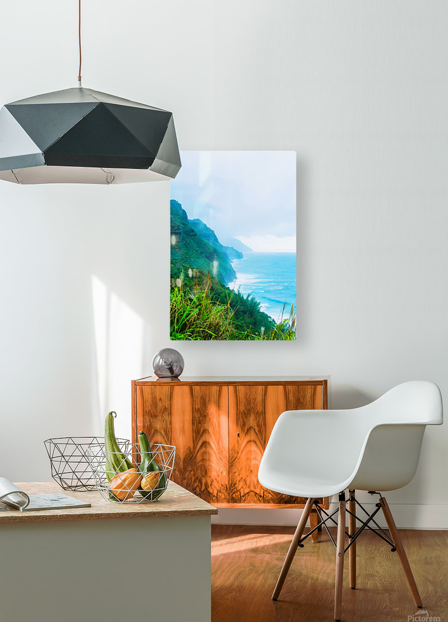 green mountain and ocean view at Kauai, Hawaii, USA  HD Metal print with Floating Frame on Back