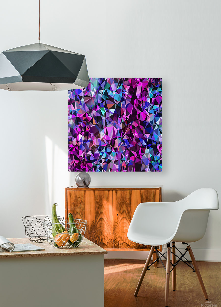 geometric triangle polygon pattern abstract in pink blue black  HD Metal print with Floating Frame on Back