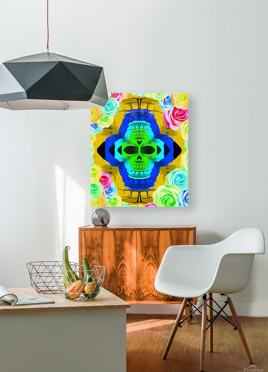 funny skull portrait with colorful roses in pink blue yellow green  HD Metal print with Floating Frame on Back