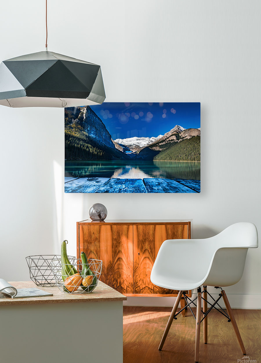 Lake Louise Dock  HD Metal print with Floating Frame on Back