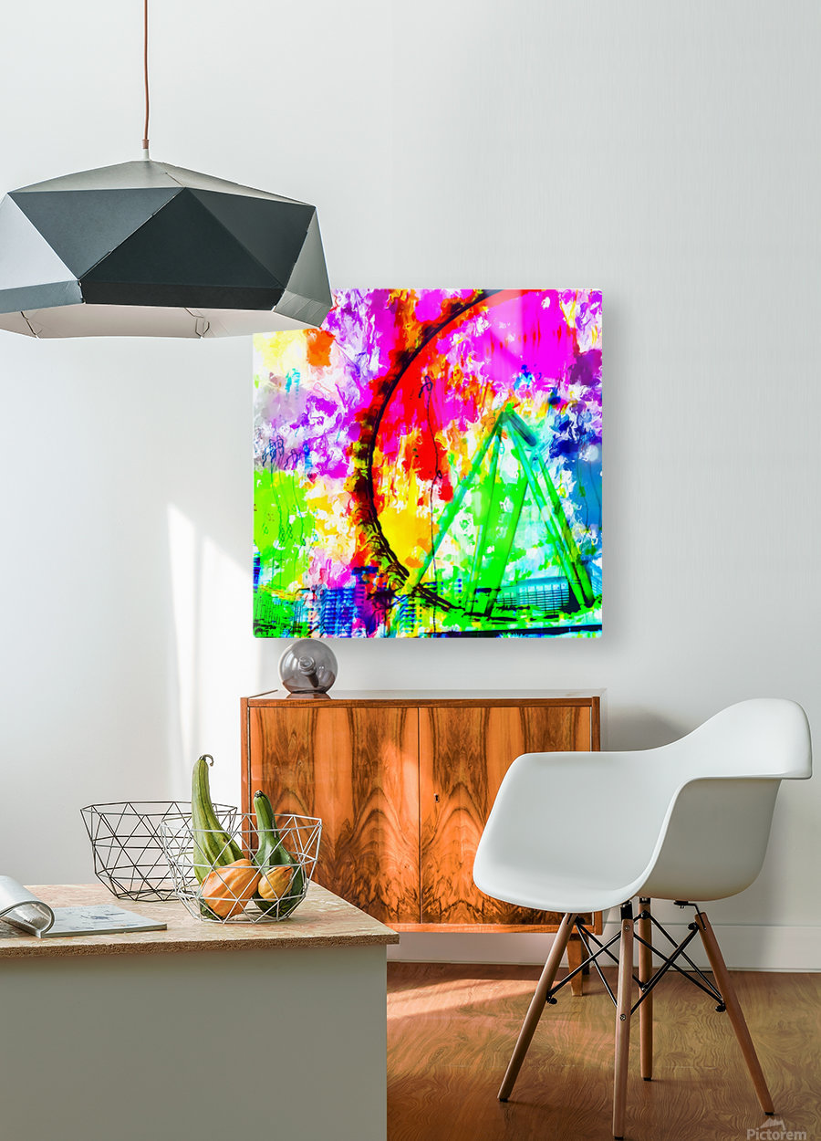 ferris wheel in the city at Las Vegas, USA with colorful painting abstract background  HD Metal print with Floating Frame on Back