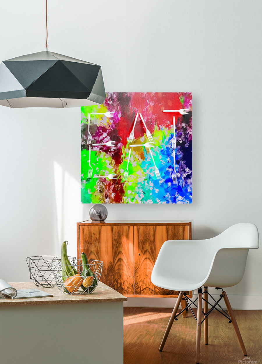 EAT alphabet by fork with colorful painting abstract background  HD Metal print with Floating Frame on Back