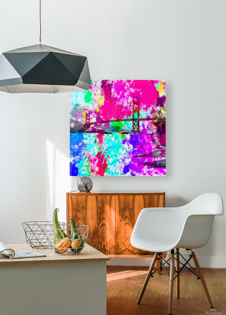Golden Gate bridge, San Francisco, USA with pink blue green purple painting abstract background  HD Metal print with Floating Frame on Back