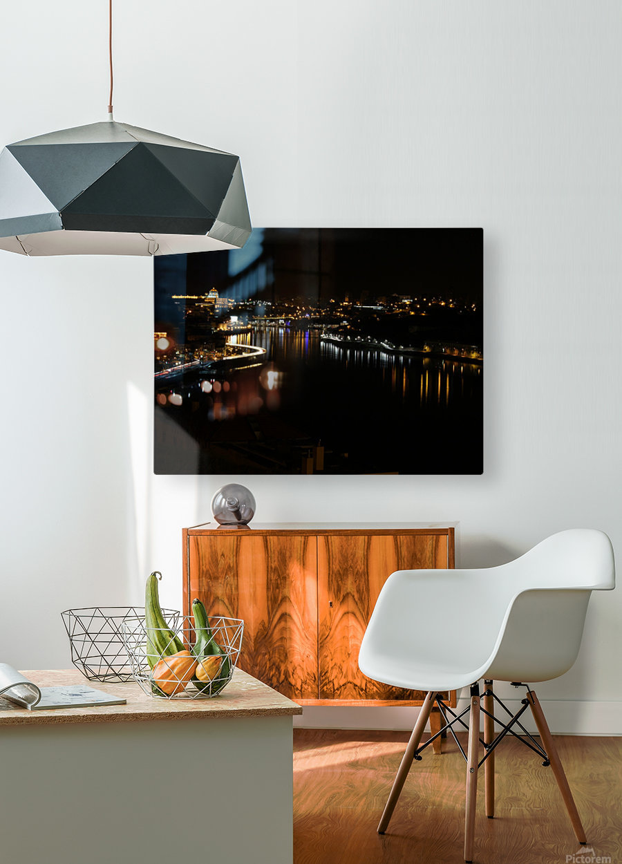 Oporto Night ligths  HD Metal print with Floating Frame on Back