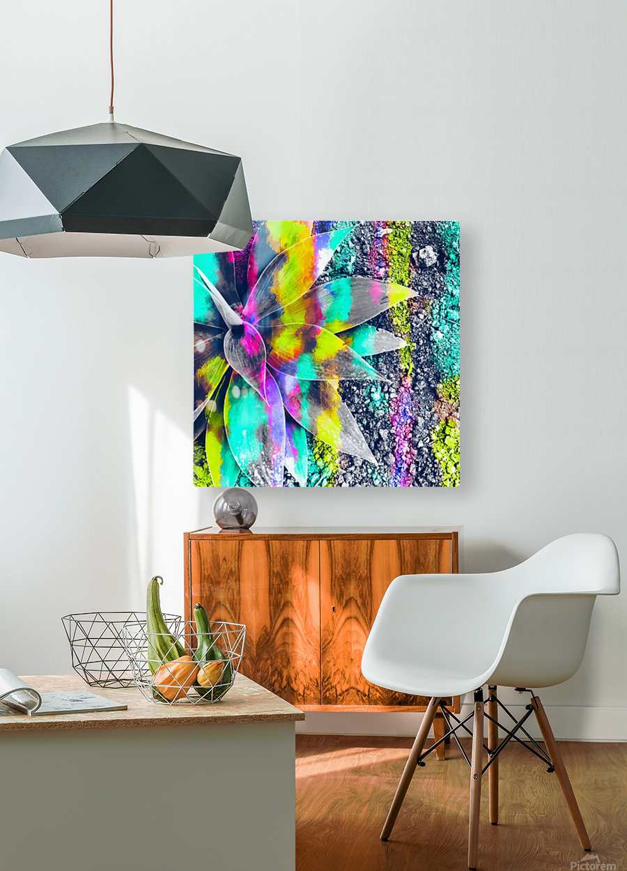 succulent plant with painting abstract background in green pink yellow purple  HD Metal print with Floating Frame on Back