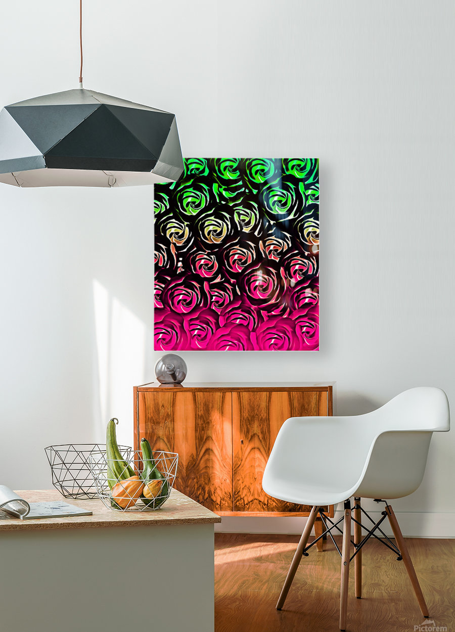 rose pattern texture abstract background in pink and green  HD Metal print with Floating Frame on Back