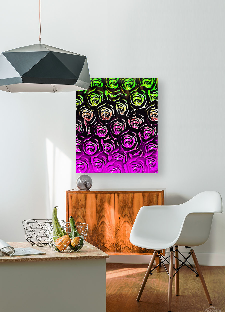 rose pattern texture abstract background in green and pink  HD Metal print with Floating Frame on Back